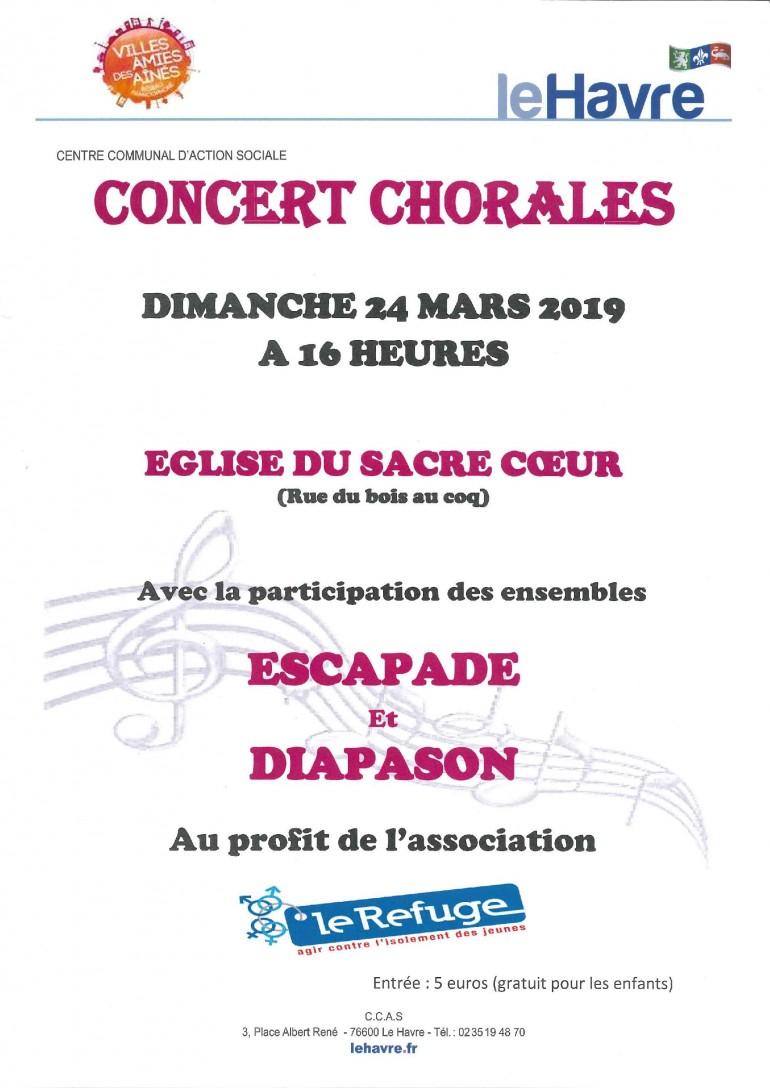 CONCERT CHORALES LE 24 MARS 2019